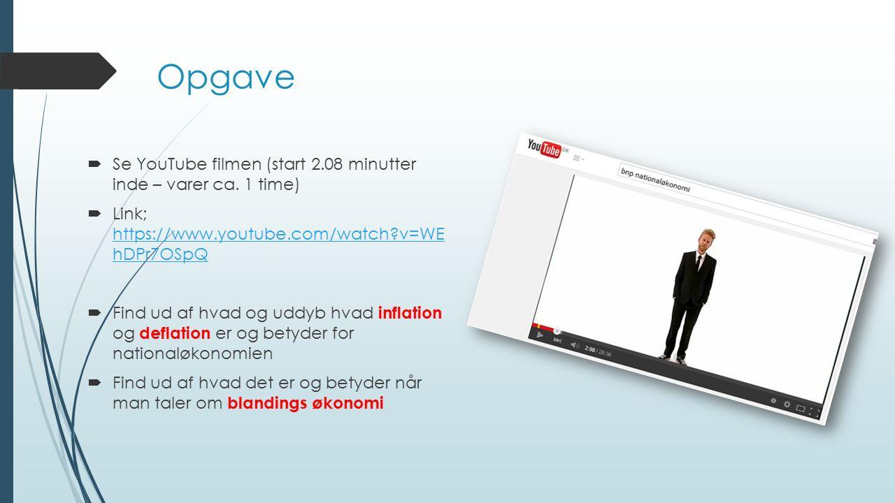 Opgave Se YouTube filmen (start 2.08 minutter inde – varer ca. 1 time)