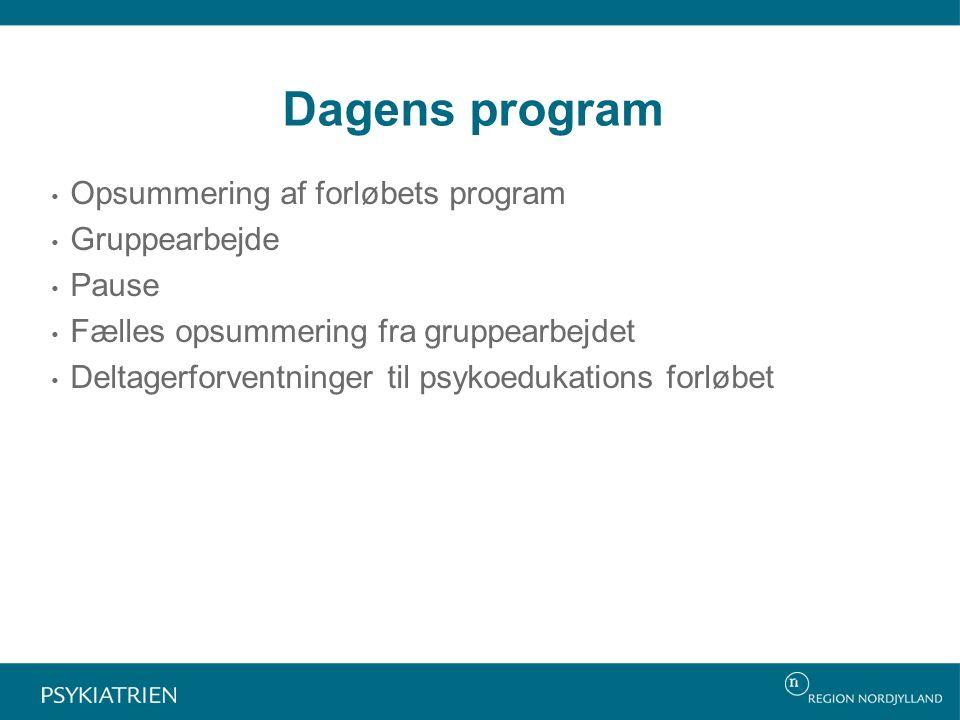 Dagens program Opsummering af forløbets program Gruppearbejde Pause