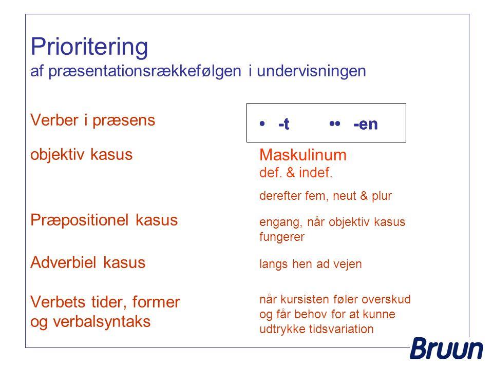 Prioritering af præsentationsrækkefølgen i undervisningen Verber i præsens objektiv kasus Præpositionel kasus Adverbiel kasus Verbets tider, former og verbalsyntaks