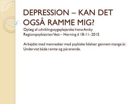 svær depression pårørende