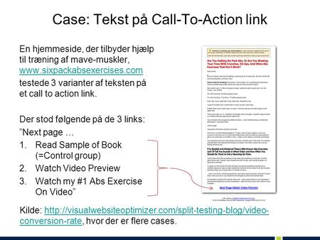 Case: Tekst på Call-To-Action link