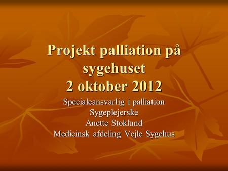 Projekt palliation på sygehuset 2 oktober 2012