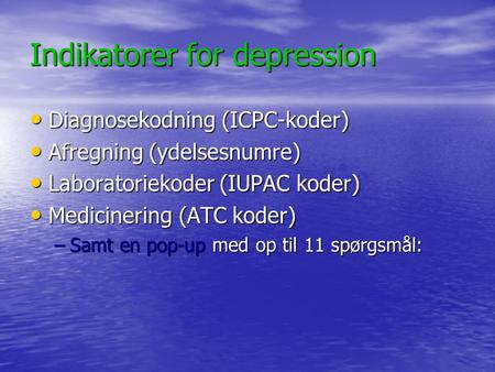 Indikatorer for depression