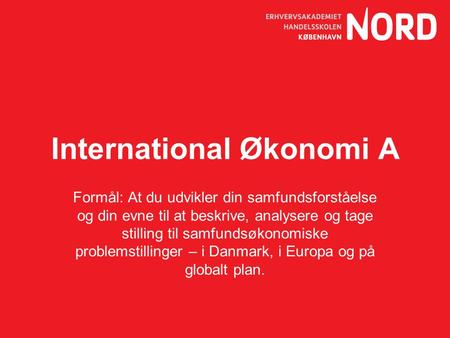 International Økonomi A