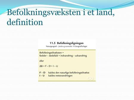 Befolkningsvæksten i et land, definition
