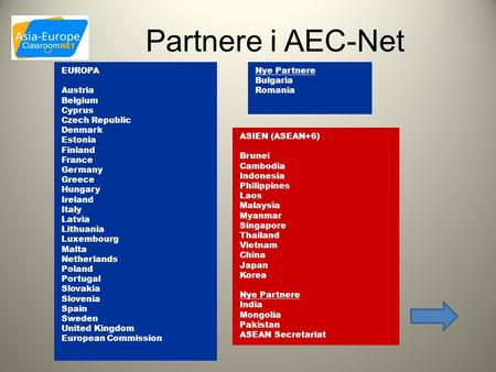 Partnere i AEC-Net Nye Partnere Bulgaria Romania EUROPA Austria Belgium Cyprus Czech Republic Denmark Estonia Finland France Germany Greece Hungary Ireland.
