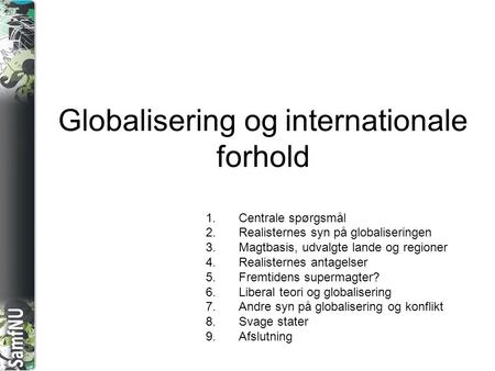 Globalisering og internationale forhold