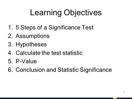 Learning Objectives 5 Steps of a Significance Test Assumptions
