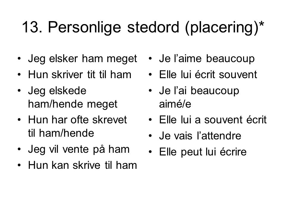 13. Personlige stedord (placering)*