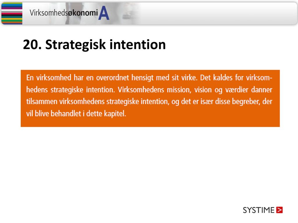 20. Strategisk intention