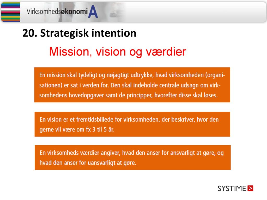 20. Strategisk intention Mission, vision og værdier