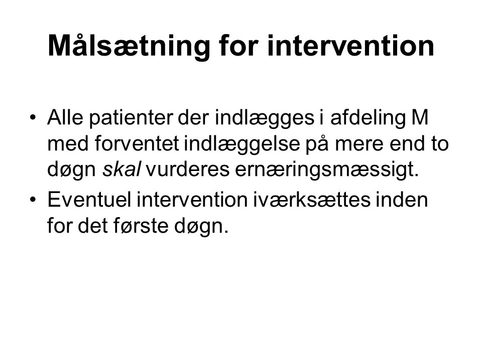 Målsætning for intervention