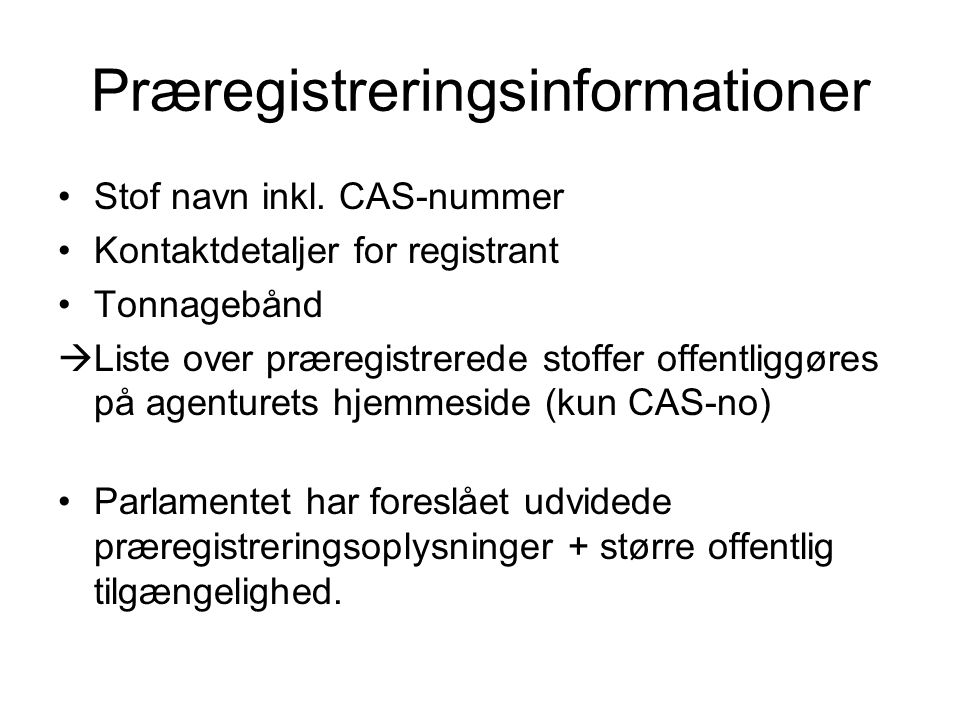 Præregistreringsinformationer