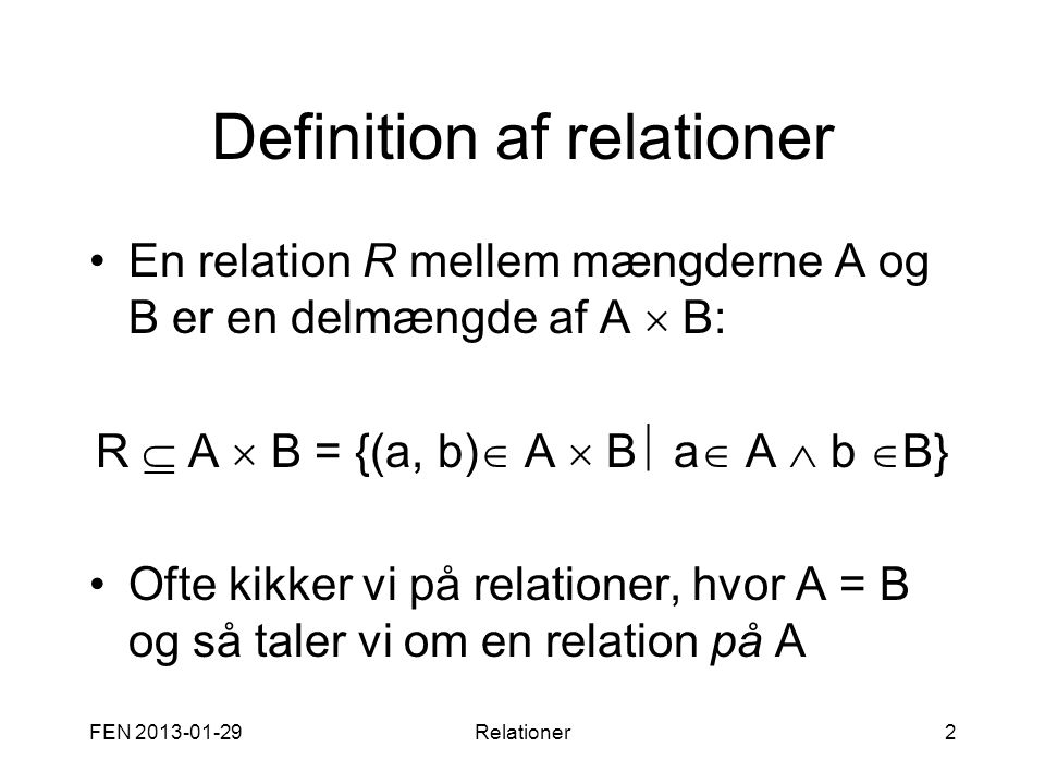 Definition af relationer