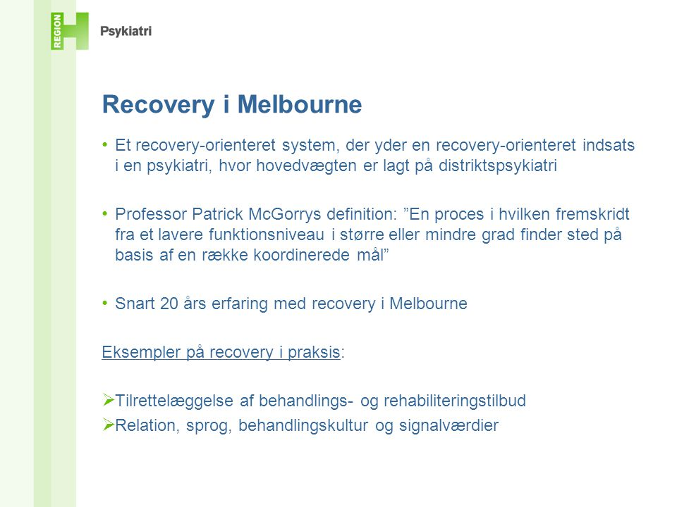 Recovery i Melbourne