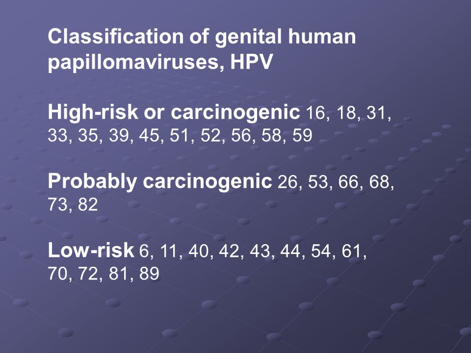 Classification of genital human papillomaviruses, HPV
