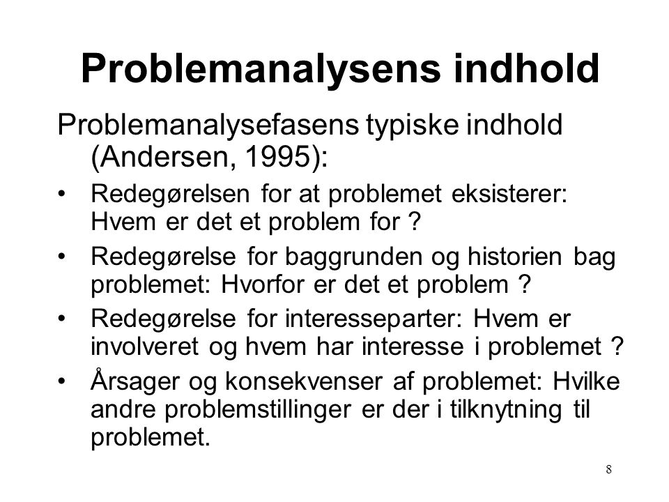 Problemanalysens indhold
