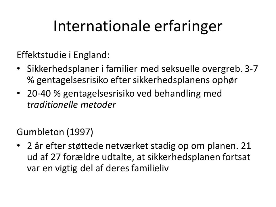 Internationale erfaringer