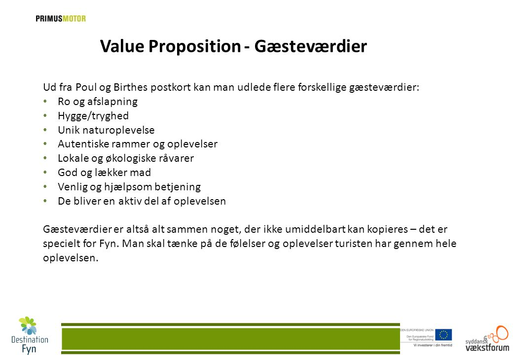 Value Proposition - Gæsteværdier