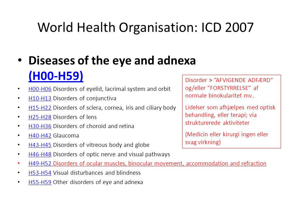 World Health Organisation: ICD 2007