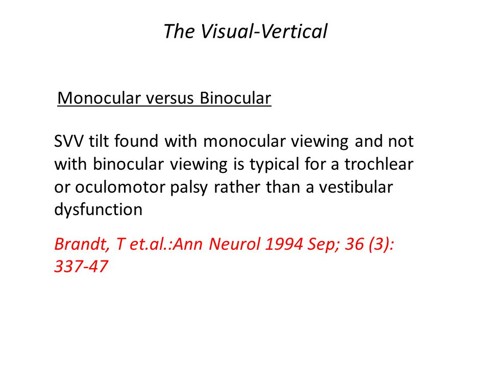 The Visual-Vertical Monocular versus Binocular