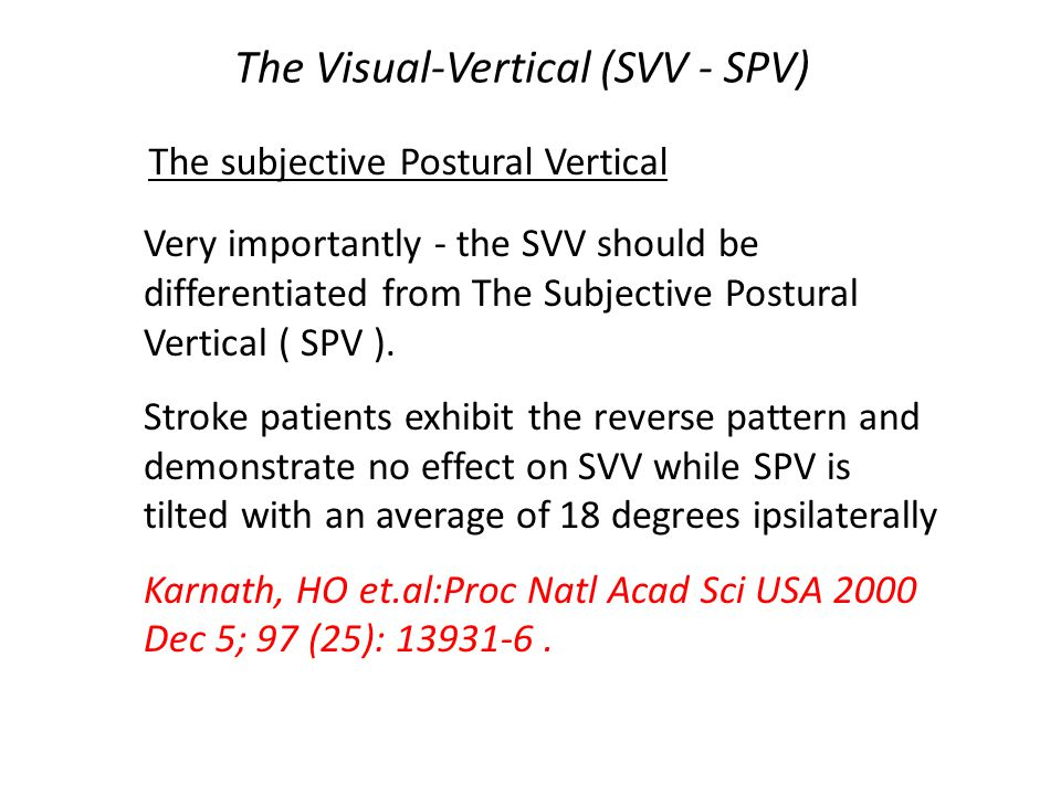 The Visual-Vertical (SVV - SPV)