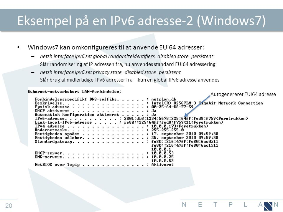 Eksempel på en IPv6 adresse-2 (Windows7)