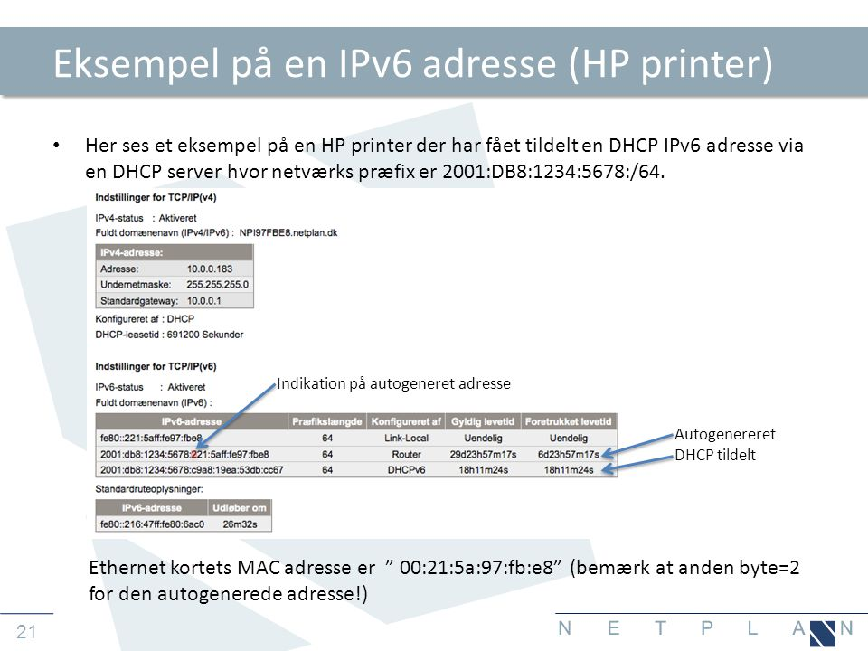 Eksempel på en IPv6 adresse (HP printer)