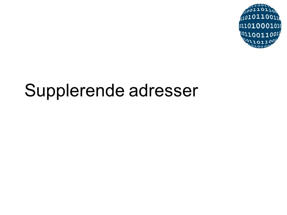 Supplerende adresser