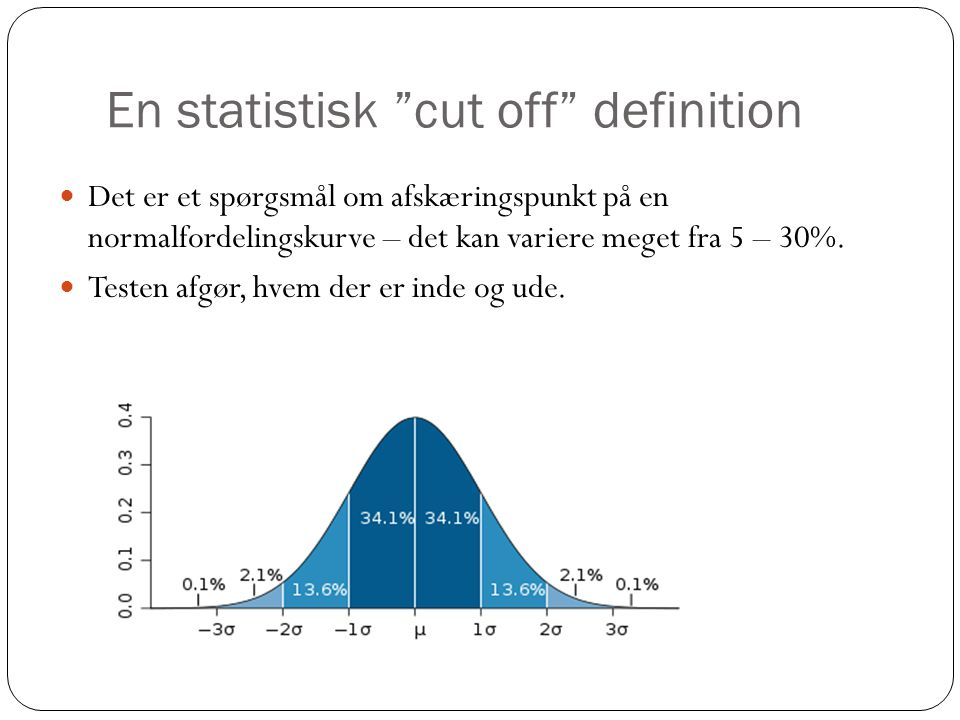 En statistisk cut off definition