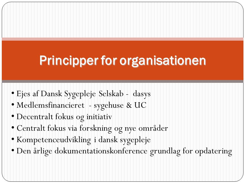Principper for organisationen