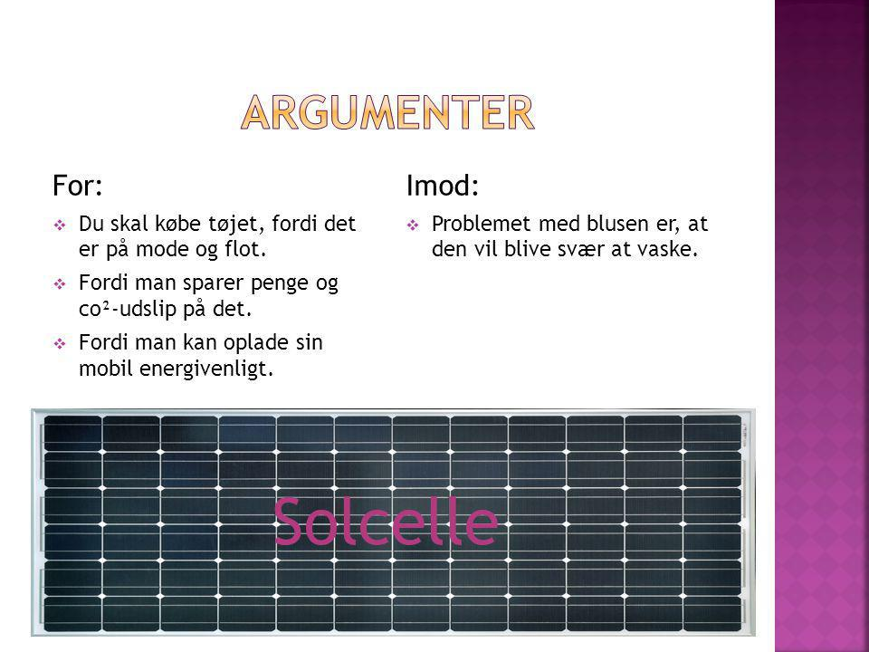 Solcelle Argumenter For: Imod: