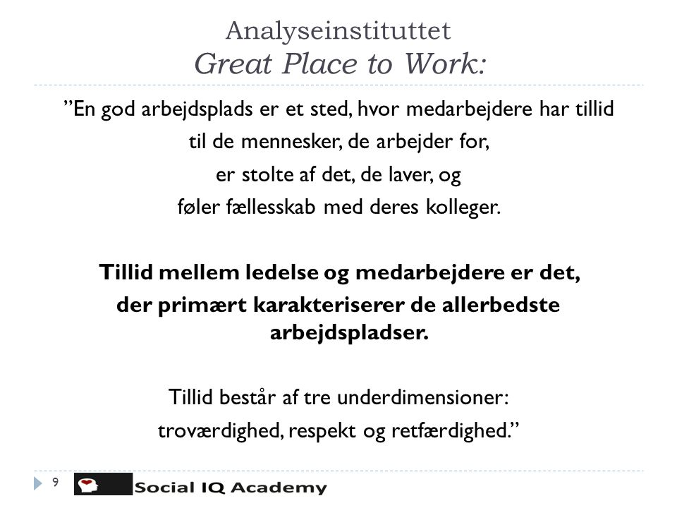 Analyseinstituttet Great Place to Work: