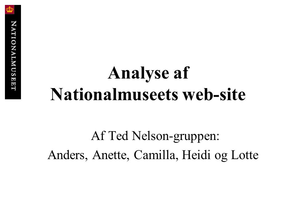 Analyse af Nationalmuseets web-site