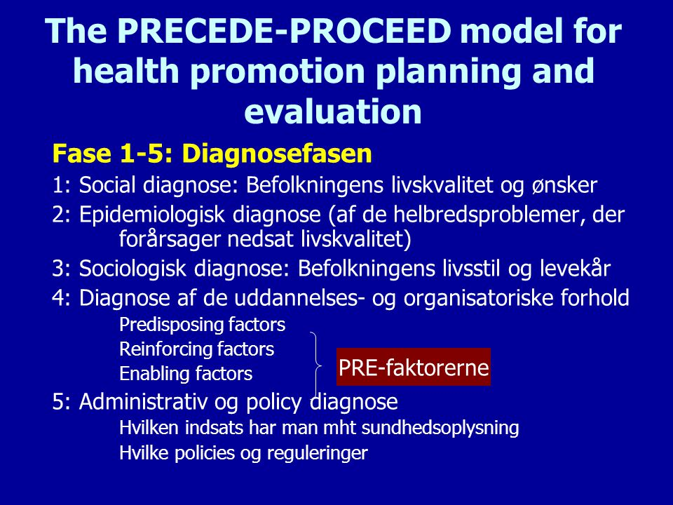 The PRECEDE-PROCEED model for health promotion planning and evaluation