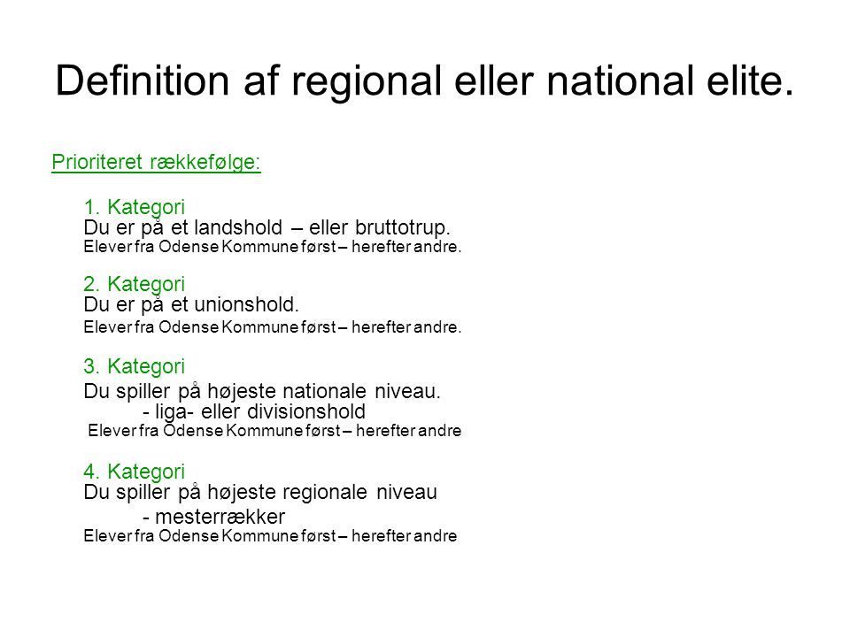 Definition af regional eller national elite.