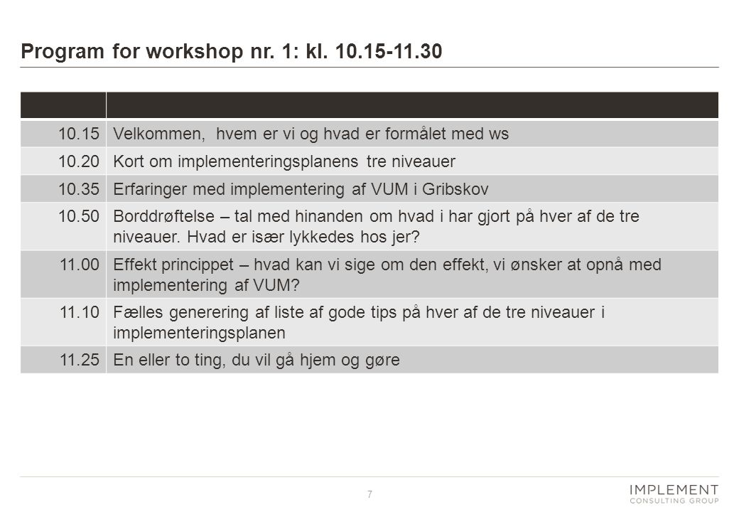 Program for workshop nr. 1: kl. 10.15-11.30