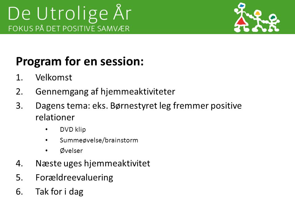 Program for en session: