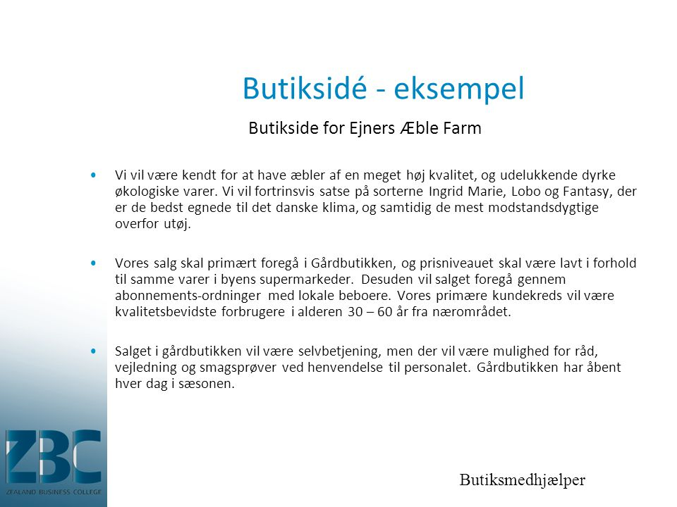 Butikside for Ejners Æble Farm
