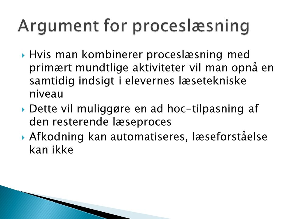 Argument for proceslæsning