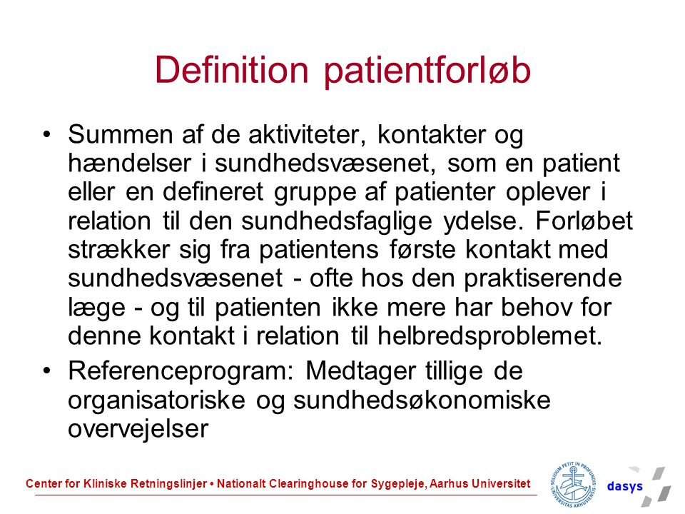 Definition patientforløb