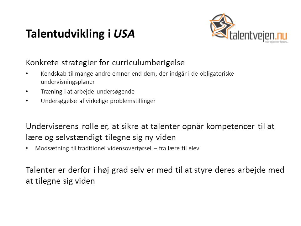 Talentudvikling i USA Konkrete strategier for curriculumberigelse