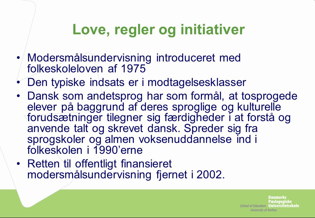 Love, regler og initiativer