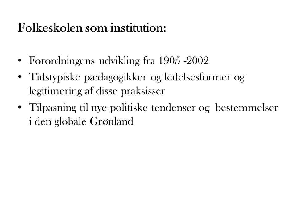 Folkeskolen som institution: