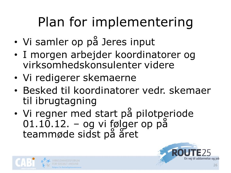 Plan for implementering