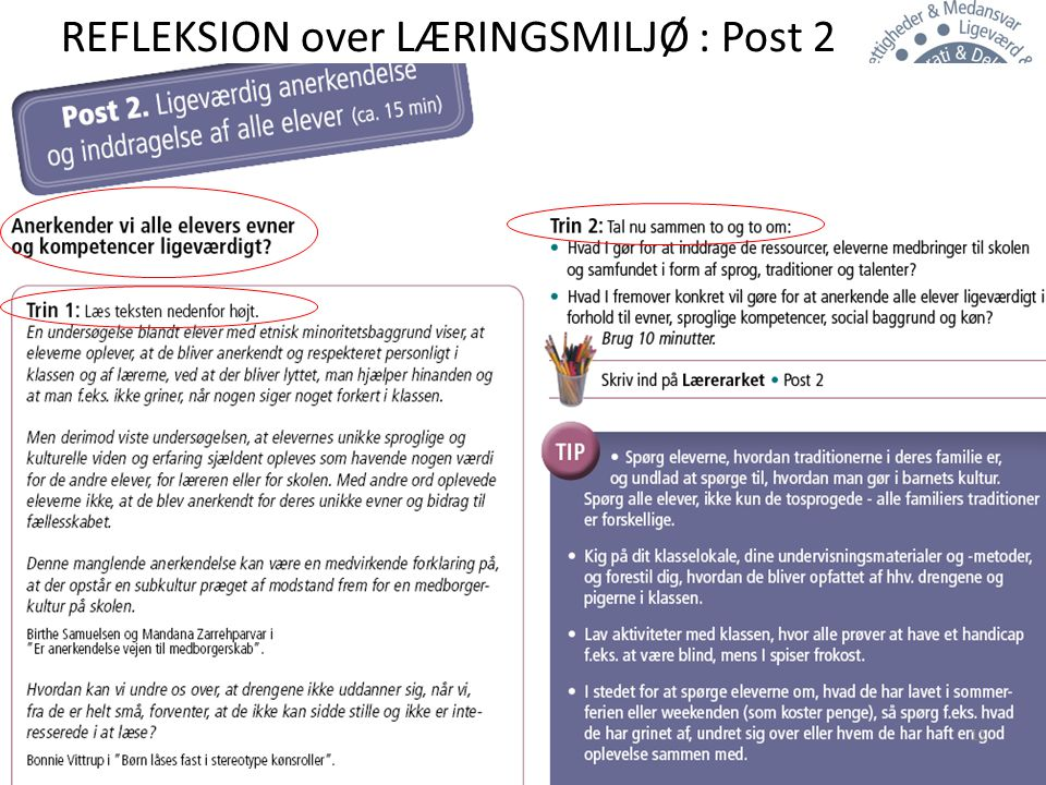 REFLEKSION over LÆRINGSMILJØ : Post 2