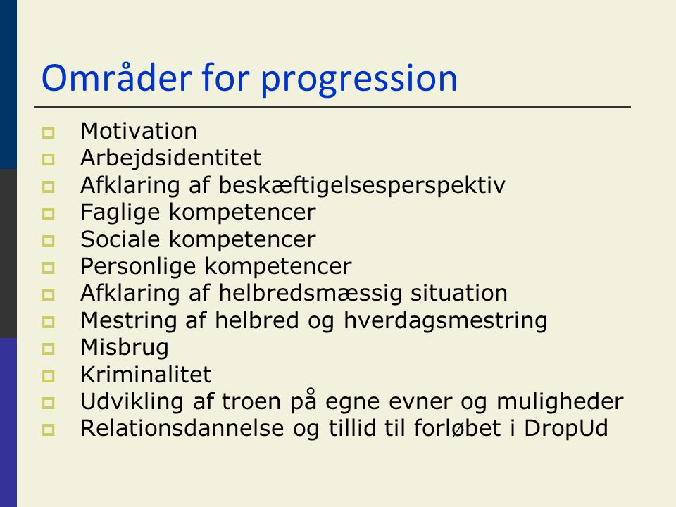 Områder for progression