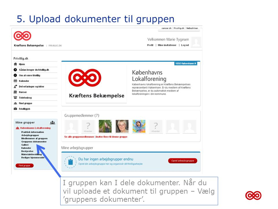 5. Upload dokumenter til gruppen