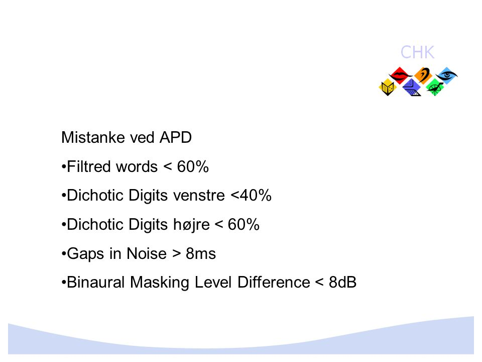 Mistanke ved APD Filtred words < 60% Dichotic Digits venstre <40% Dichotic Digits højre < 60% Gaps in Noise > 8ms.