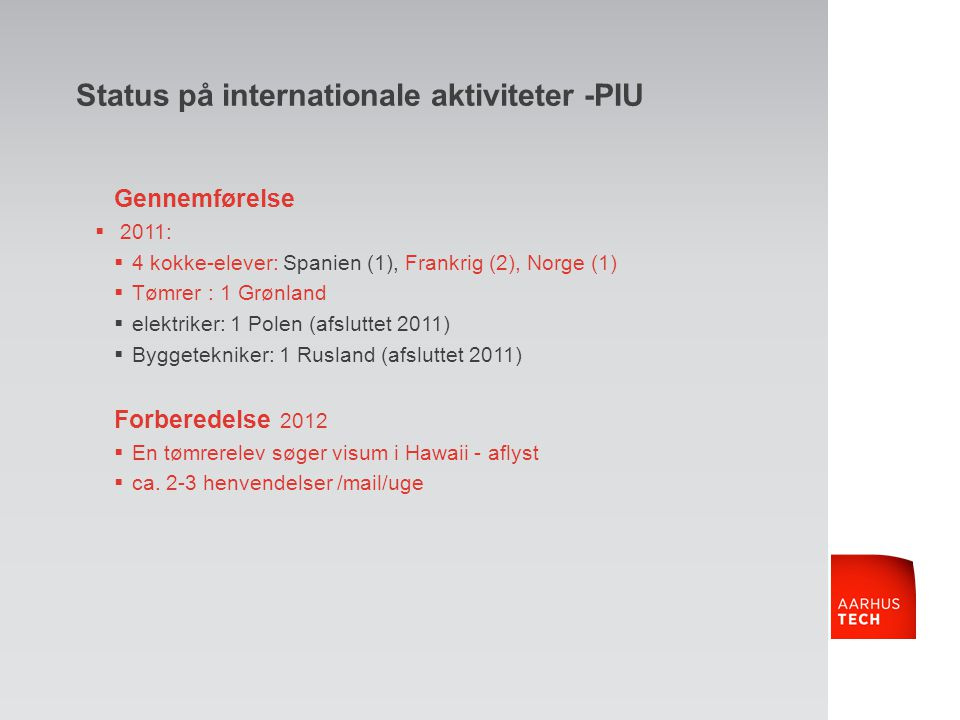 Status på internationale aktiviteter -PIU